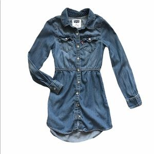 Levi's Girls Chambray Long Sleeve Shirt Dress 7 S